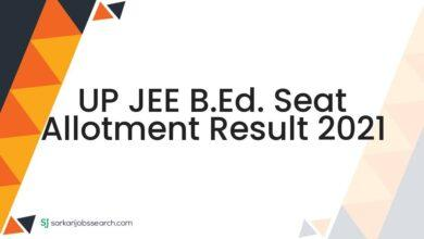 UP JEE B.Ed. Seat Allotment Result 2021