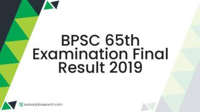 BPSC 65th Examination Final Result 2019